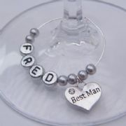 Best Man Personalised Wine Glass Charm